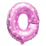 """ลูกโป่งฟอยล์รูปตัวอักษร O สีชมพูพิมพ์ลายหัวใจ ไซส์เล็ก 14 นิ้ว - O Letter Shape Foil Balloon Size 14"""" Pink color printing Heart"""