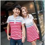 เสื้อคู่รัก ชุดคู่รัก พร้อมส่ง ชายเสื้อคอปก + หญิงเดรสแซกคอปกสีขาว แต่งลายสีแดงขาว