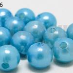 ลูกปัดมุก พลาสติก สีฟ้าเข้ม 10มิล (1ขีด/100กรัม)