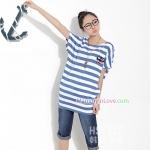 เสื้อคลุมท้องแขนสั้น ลายแมวติดโบว์ : สีฟ้า-ขาว รหัส SH181