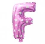 """ลูกโป่งฟอยล์รูปตัวอักษร F สีชมพูพิมพ์ลายหัวใจ ไซส์เล็ก 14 นิ้ว - F Letter Shape Foil Balloon Size 14"""" Pink color printing Heart"""