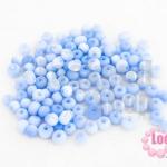 ลูกปัดแก้ว ตาแมว สีน้ำเงินอ่อน 5มิล (1ขีด/687ชิ้น)
