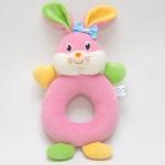 ของเล่นเสริมพัฒนาการ Rattle ตุ๊กตามือจับ หน้ากระต่าย สีชมพู เขย่าแล้วมีเสียงกุ๊งกิ๊ง ใช้เป็น ของเล่นเด็ก ของเล่นเสริมทักษะ (ส่งฟรี)
