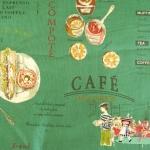 ผ้าคอตตอนญี่ปุ่น ลายอาหารสไตล์วินเทจ สีเขียว ของ Yuwa Life Collection เนื้อบาง