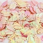 เลื่อมปัก ใบไม้ สีส้มเหลือบรุ้ง 9X16มิล(5กรัม)