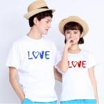 เสื้อยืดคู่รัก แฟชั่นคู่รัก ชาย + หญิง เสื้อยืดแขนสั้น แต่งสกรีนลายLove เสื้อสีขาว +พร้อมส่ง+