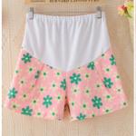 pk124501 กางเกงสั้นคนท้อง โทนสีชมพูลายดอกไม้ มีผ้าพยุงครรภ์ เอวสามารถเลื่อนได้ตามอายุครรภ์