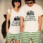 ชุดคู่รัก เสื้อคู่รักเกาหลี เสื้อผ้าแฟชั่น ชาย หญิง เสื้อกล้ามสีขาวลายกล้อง + กางเกงขาสั้นลายขาวเขียว