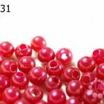 ลูกปัดมุก พลาสติก สีแดง 8 มิล 1 ขีด