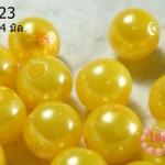 ลูกปัดมุก พลาสติก สีเหลือง 14 มิล (1ขีด/100กรัม)