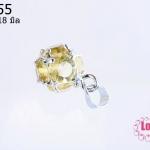 ตัวแต่งโรเดียม จี้ลูกปัด ตกแต่งสร้อยหินนำโชค รูปบอลเพชรสีเหลืองอำพัน2 ขนาด 9x18 มิล