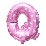 """ลูกโป่งฟอยล์รูปตัวอักษร Q สีชมพูพิมพ์ลายหัวใจ ไซส์เล็ก 14 นิ้ว - Q Letter Shape Foil Balloon Size 14"""" Pink color printing Heart"""