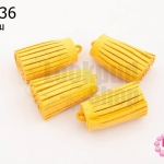 พู่หนังชามุด สีเหลือง 3.5ซม (4ชิ้น)