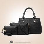 กระเป๋า Berry bag พร้อมส่ง รหัส SUB8845BK สีดำ เซต 3 ใบ แต่งลายเก๋ๆสวยค่ะ