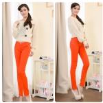 กางเกงยีนส์ผ้ายืด สีส้ม