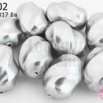 ลูกปัดมุกพลาสติก สีเทา ลายเกลียวใหญ่ 11X17มิล(1ขีด/100กรัม)