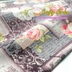 ผ้าคอตตอนลินิน ญี่ปุ่น รุ่น Vintage Collage ลายสารานุกรม กุหลาบ และดอกไม้ สีฟ้า สไตล์วินเทจ สีเทา สวยมากค่ะ