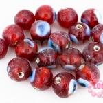 ลูกปัดแก้ว ลูกตา สีแดง 10 มิล (1ขีด/98ชิ้น)