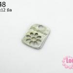 จี้โรเดียม สีเงิน ลายจี้ดอกไม้ 14x12 มิล (1ชิ้น)