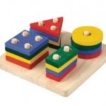 ของเล่นไม้เสริมพัฒนาการเด็ก Geometric Sorting Board แป้นเรขาสวมหลัก (ส่งฟรี)
