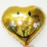 ลูกโป่งฟลอย์รูปหัวใจ หน้ายิ้มสีทอง ไซส์ 18 นิ้ว - Gold Heart Shape Smiley Face Foil Balloon / Item No. TL-F011