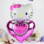 ลูกโป่งฟลอย์ Hello Kitty หัวใจ I Love You สีชมพู - Hello Kitty I Love You Pink heart Foil Balloon / Item No. TL-E022