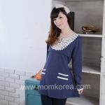 MK207เสื้อให้นมแฟชั่นเกาหลี 2 in 1 โทนสีกรม ด้านหน้ามีซิปเปิดให้นมน้องได้ คอประดับด้วยลูกไม้ ปลายแขนประดับด้วยลูกไม้