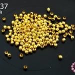 ลูกปัดโลหะ สีทอง กลม 2.5มิล (1ขีด/100กรัม)