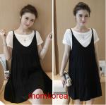 K79014 เดรสคลุมท้องแฟชั่นเกาหลี เอี้ยมดำ+เสื้อตัวในสีขาว ผ้านิ่มใส่สบายมากๆ ค่ะ