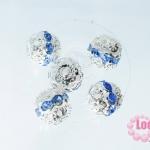 ตัวแต่งสร้อยหินนำโชคบอลเพชร แถวเดียวสีเงิน เพชร สีฟ้า 10 มิล
