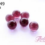ลูกปัดแก้วมูราโน่ ไม่มีรู ทรงกลม สีม่วงใส 8 มิล(1ชิ้น)