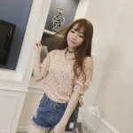 เสื้อแฟชั่นเกาหลี แขนสองส่วน แต่งคอเสื้อแบบปาด พิมพ์ลายสีพาสเทลสวยหวาน-โทนสีส้ม
