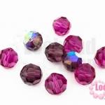 คริสตัลจีน กลมเจียรเหลี่ยม สีม่วงอมชมพูเหลือบรุ้ง 10มิล(1ชิ้น)