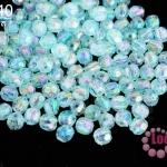 ลูกปัดพลาสติก กลมเจียร สีฟ้าเหลือบรุ้ง 5มิล(1ขีด/100กรัม)