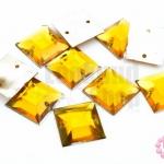 เพชรแต่ง สี่เหลี่ยม สีเหลืองทอง มีรู 14มิล(10ชิ้น)