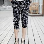 PK009 กางเกงคนท้องแฟชั่นเกาหลี  ผ้าฝ้ายสีดำลายจุด เนื้อผ้านิ่ม ขาจั๊ม สามารถยืด  ได้ตามอายุครรภ์ค่ะไม่หนาใส่แล้วสบาย ดูน่ารักดีค่ะ