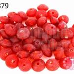 ลูกปัดแก้ว ทรงจานบิน สีแดง 8มิล (1ขีด/100กรัม)