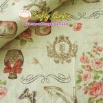 ผ้าคอตตอนลินิน ญี่ปุ่น รุ่น Vintage Collage ลายปารีส สไตล์วินเทจ สีขาวครีม สวยมากค่ะ มี 5 สี