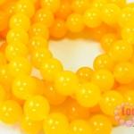 หินหยกน้ำผึ้ง เหลืองสด 14มิล 35ซม 25เม็ด (จีน)