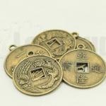 เหรียญจีน สีทองเหลือง มีห่วง 24มิล(10ชิ้น)