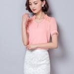 เสื้อแฟชั่นเกาหลี/เสื้อทำงาน แต่งคอจีนแบบครึ่ง ช่วงไหล่แต่งลูกไม่ สีชมพู
