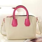 กระเป๋าแฟชั่นเกาหลี แบรนด์ axixi หนัง pu อย่างดี สีขาวแต่งหูหิ้วด้วยสีชมพูสด