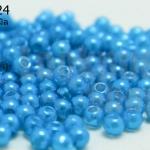ลูกปัดมุก พลาสติก สีฟ้าเข้ม 3มิล (1ขีด/100กรัม)