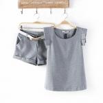 ผู้หญิง 2014 ฤดูร้อนผ้าลินินขาใหม่ยุโรปชุดเล็กลมหอมเสื้อยืดกางเกงขาสั้น + ท็อปส์ซูพักผ่อนด้วยเข็มขัด