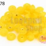 ลูกปัดแก้ว ทรงจานบิน สีเหลือง 9มิล(1ขีด/100กรัม)
