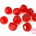 คริสตัลจีน กลมเจียรเหลี่ยม สีแดง 12มิล(1ชิ้น)