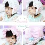 หมวกเด็กหญิง สีขาว สีชมพู   MC93