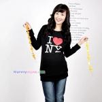 เสื้อคลุมท้องแขนยาว สกีนลาย I LOVE NY : สีดำ รหัส SH148