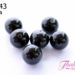 ลูกปัดแก้วมูราโน่ มีรู ทรงกลม สีดำ 12มิล(1ชิ้น)