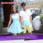 เสื้อคู่รัก ชายเสื้อคอกลม + เดรสแขนกุดคอบัว ด้านบนสีขาว ด้านล่างสีฟ้า +พร้อมส่ง+